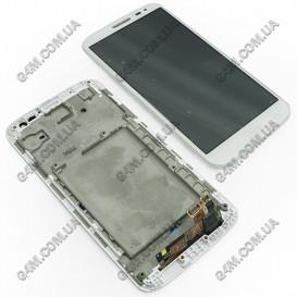 Дисплей LG D618 G2 Mini с тачскрином и рамкой, белый (Оригинал)