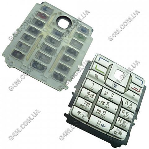 Клавиатура Nokia E60 серебристая, русская, High Copy