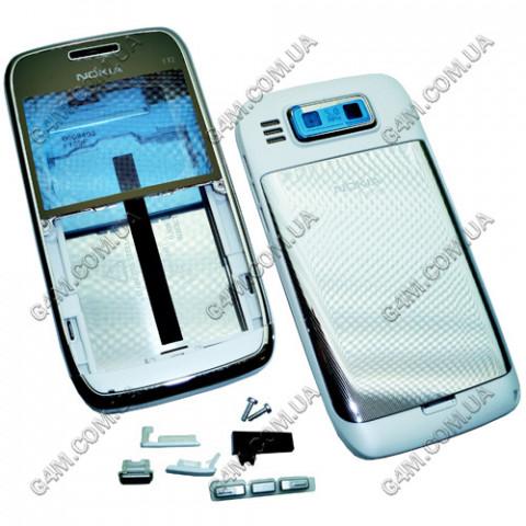 Корпус Nokia E72 стальной с белым (High Copy)