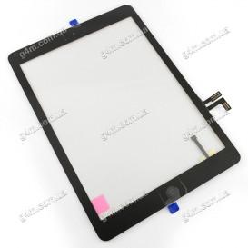 Тачскрин для Apple iPad Air, Apple iPad 5 Air с клейкой лентой и кнопкой меню, черный (Оригинал)