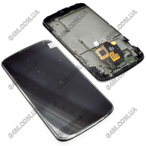 Дисплей LG E960 Google Nexus 4 с рамкой, черный (Оригинал)