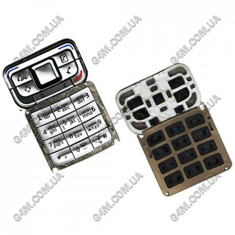 Клавиатура Nokia E65 серебристая, русская (High Copy)