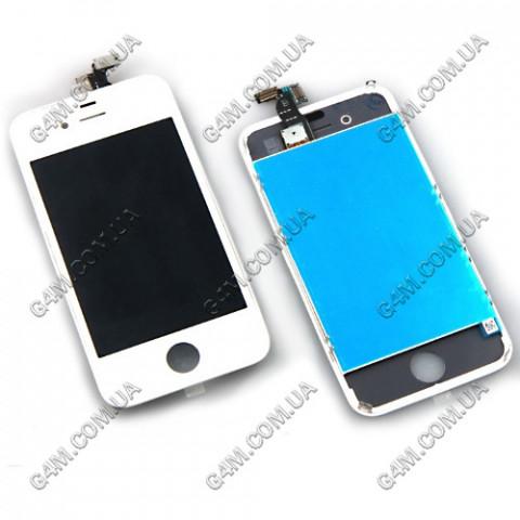 Дисплей Apple iPhone 4G с тачскрином и рамкой белый (High copy)