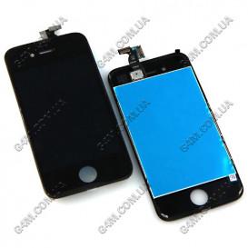 Дисплей Apple iPhone 4G с тачскрином и рамкой, черный
