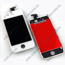Дисплей Apple iPhone 4S с тачскрином и рамкой, белый