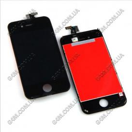 Дисплей Apple iPhone 4S с тачскрином и рамкой, черный