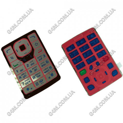 Клавиатура Nokia N76 красная, русская, High Copy
