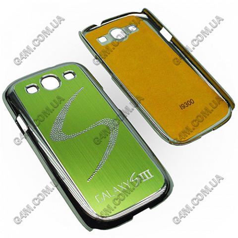 Накладка пластиковая с салатовой аллюминиевой вставкой для Samsung i9300 Galaxy S3