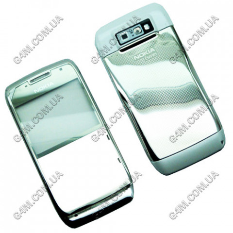 Корпус Nokia E71 стальной с белым (High Copy)