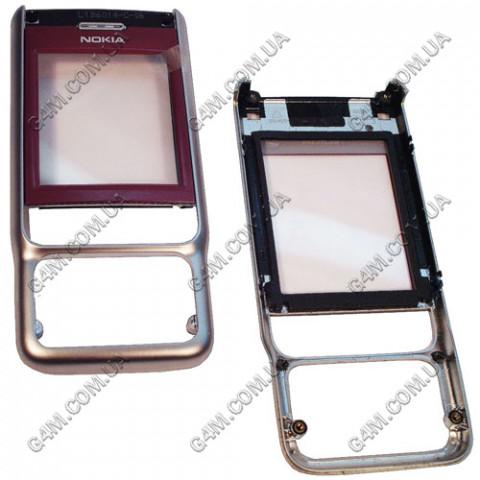 Передняя панель корпуса Nokia 3230 красный с серебристым, Оригинал