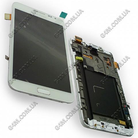 Дисплей Samsung N7000 Galaxy Note, i9220 Galaxy Note белый с рамкой (Оригинал)