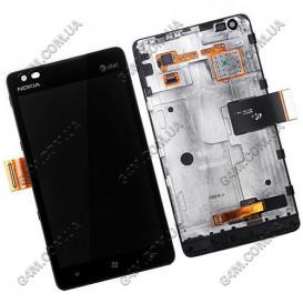 Дисплей Nokia Lumia 900 с тачскрином и рамкой (Оригинал)