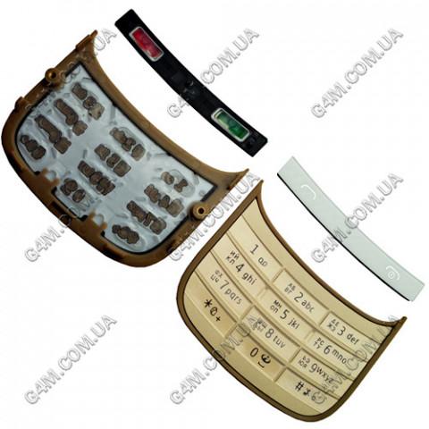 Клавиатура Nokia C2-03 белая с золотистым, кириллица, High Copy