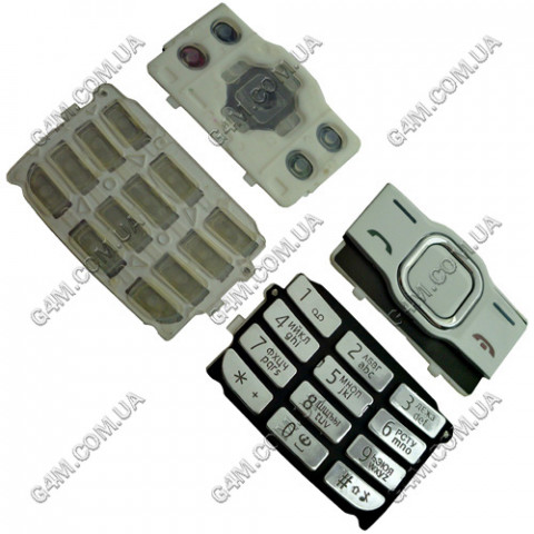 Клавиатура Nokia 7610 Supernova, белая с серебристым, High Copy
