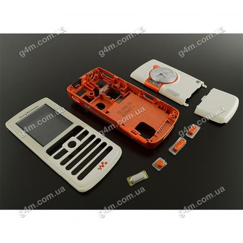 Корпус Sony Ericsson W700, W800 белый с оранжевой средней частью (High Copy)