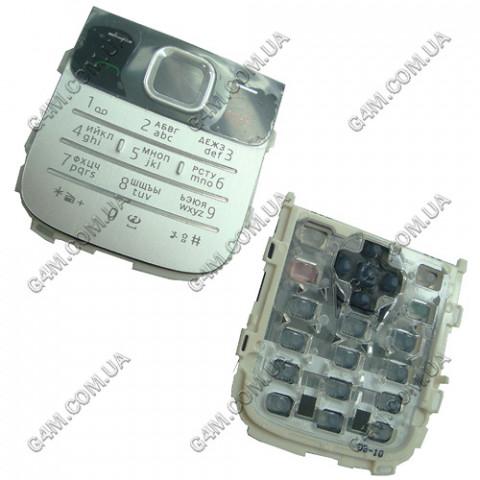 Клавиатура Nokia 2730 classic серебристая, русская (High Copy)