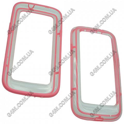 Бампер силиконовый с розовой окантовкой для Samsung i9300 Galaxy S3
