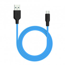 USB дата-кабель Hoco X21 Silicone MicroUSB 1 метр, черно-голубой