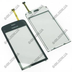 Тачскрин для Nokia C5-03, C5-06 черный с клейкой лентой