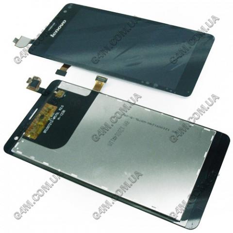 Дисплей Lenovo K860 с тачскрином черный  (Оригинал China)