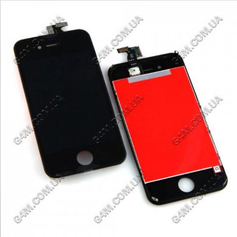 Дисплей Apple iPhone 4S с тачскрином и рамкой, черный (Оригинал)