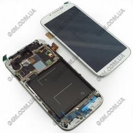 Дисплей Samsung i9500 Galaxy S4 белый с тачскрином и рамкой (копия)