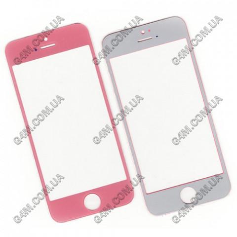 Стекло сенсорного экрана для Apple iPhone 5, 5C, 5S розовое