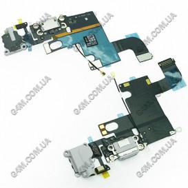 Шлейф Apple iPhone 6 с коннекторами зарядки и наушника, серый