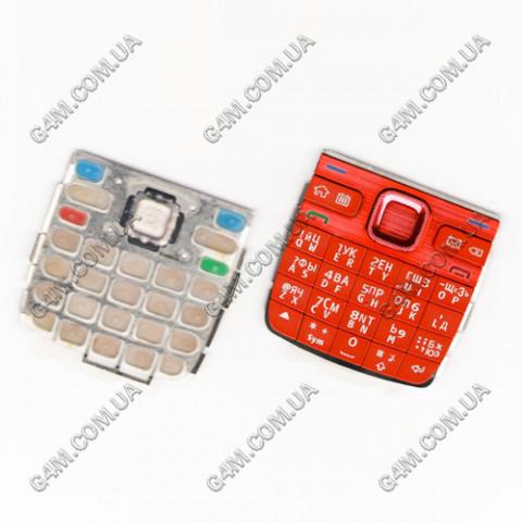 Клавиатура Nokia E55 красная, русская, High Copy
