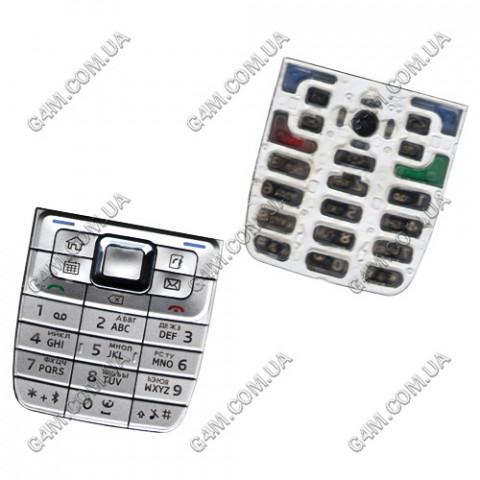 Клавиатура Nokia E51 серебристая, русская, High Copy