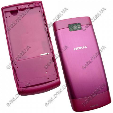 Корпус Nokia X3-02 Touch and Type малиновый, High Copy
