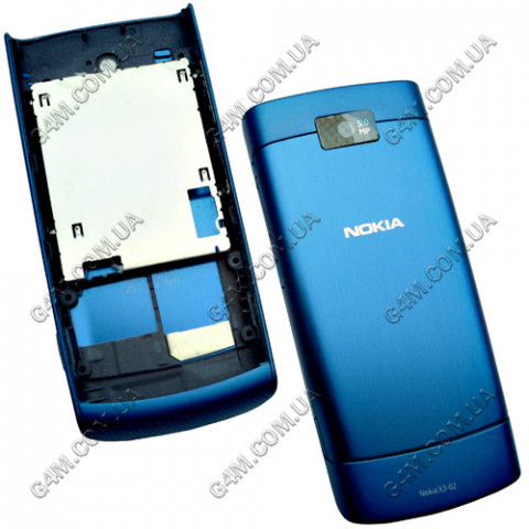 Корпус Nokia X3-02 Touch and Type синий (High Copy)