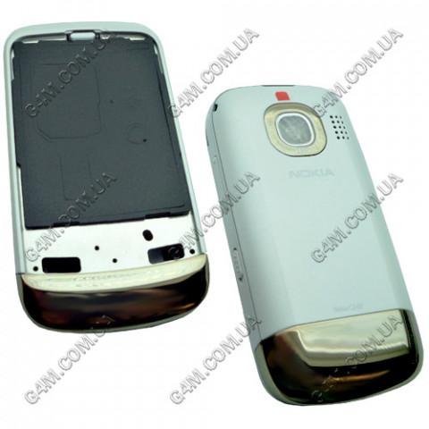 Корпус Nokia C2-02, C2-03 белый с золотистым, High Copy