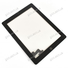 Тачскрин для Apple iPad 2 с клейкой лентой и кнопкой меню, черный