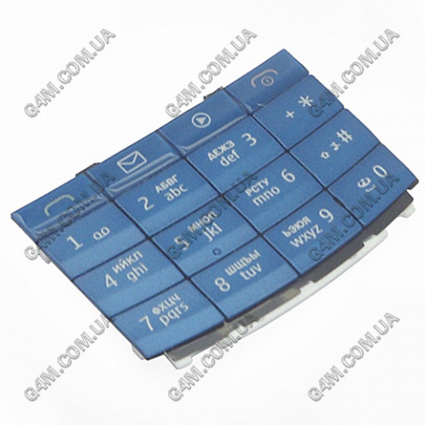 Клавиатура Nokia X3-02 голубая, русская (Оригинал)