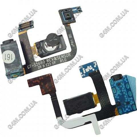 Коннектор наушника (разьем гарнитуры) Samsung S5660 Galaxy Gio с шлейфом и компонентами