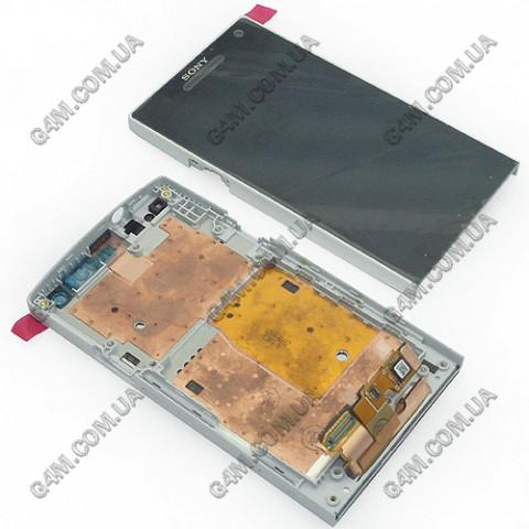 Дисплей Sony LT26i Xperia S с тачскрином и рамкой, белый (Оригинал)