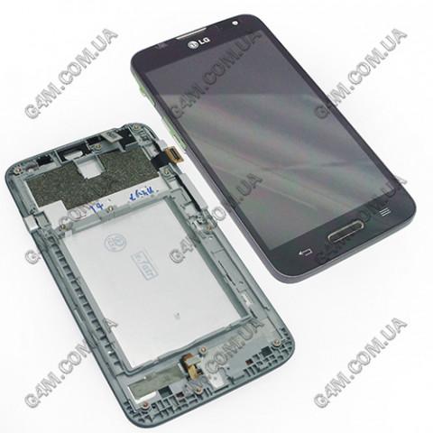 Дисплей LG D320, D321, MS323 Optimus L70 черный с тачскрином и рамкой (Оригинал)