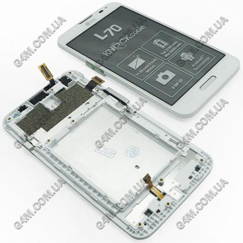 Дисплей LG D320, D321, MS323 Optimus L70 белый с тачскрином и рамкой (Оригинал)
