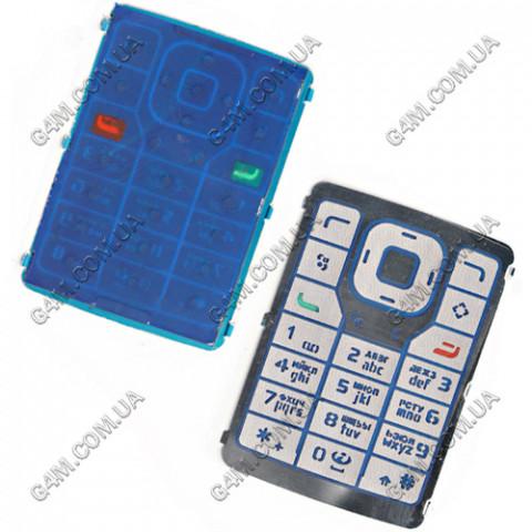 Клавиатура Nokia N76 голубая, русская, High Copy
