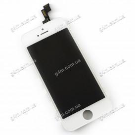 Дисплей Apple iPhone 5S с тачскрином и рамкой, белый, Оригинал