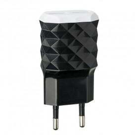 Сетевое зарядное устройство Optima Prizma 1A на 2 USB (черного цвета)