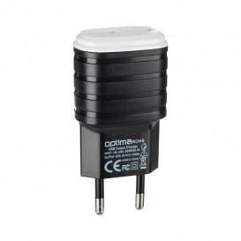 Сетевое зарядное устройство Optima Force 2.1A на 2 USB (черного цвета)