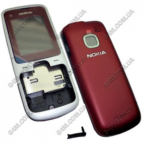 Корпус Nokia C1-01 бордовый, High Copy