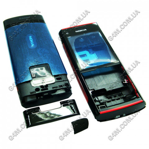 Корпус Nokia X2-00 черный с красным (High Copy)