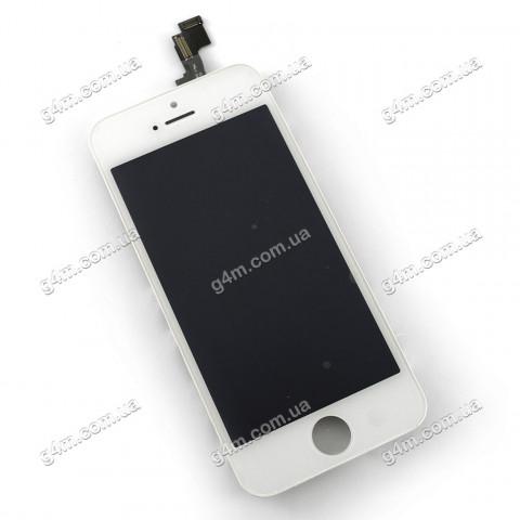 Дисплей Apple iPhone 5S с тачскрином и рамкой, белый (High copy)