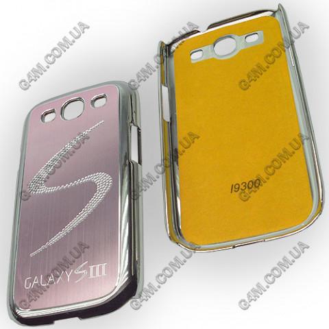 Накладка пластиковая с розовой аллюминиевой вставкой для Samsung i9300 Galaxy S3