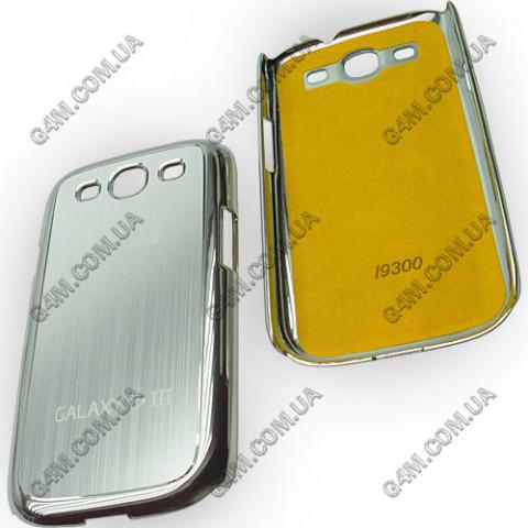 Накладка пластиковая с серебристой аллюминиевой вставкой для Samsung i9300 Galaxy S3
