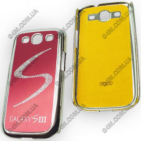 Накладка пластиковая с вишневой аллюминиевой вставкой для Samsung i9300 Galaxy S3