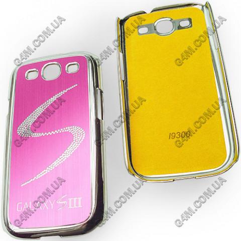 Накладка пластиковая с малиновой аллюминиевой вставкой для Samsung i9300 Galaxy S3
